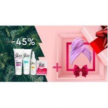 Lotion + szampon + hialuronowa odbudowująca odżywka + witaminy Hair Jazz + present ręcznik Hair Jazz Super Towel